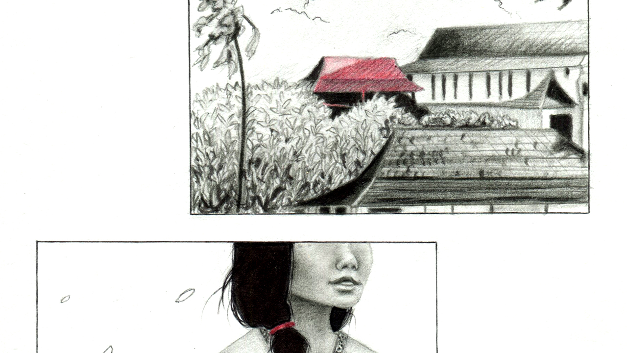 Illustration of a house and woman by TabzA