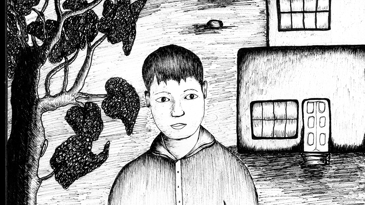 Illustration of a boy in black and white